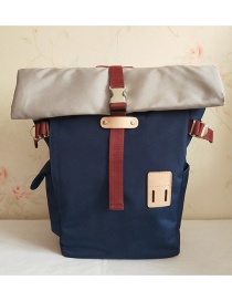 Fashion Navy Pure Color Decorated Backpack