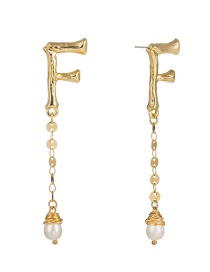 Fashion F Gold Letter F Wrapped Natural Freshwater Pearl Earrings