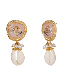 Fashion Pink Drop Oil Color Broken Shell Natural Pearl Earrings
