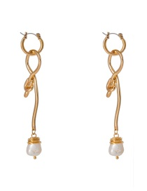 Fashion Gold Shaped Knotted Natural Freshwater Pearl Earrings