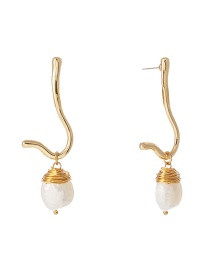 Fashion Gold Shaped Natural Freshwater Pearl Earrings