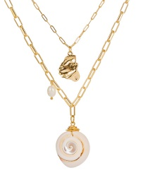 Fashion Gold Natural Shell Freshwater Pearl Multi-layer Necklace