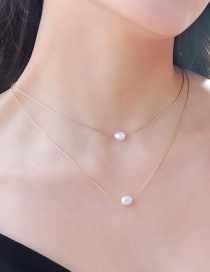 Fashion Gold Natural Freshwater Pearl Multi-layer Necklace
