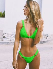 Fashion Fluorescent Green Chest Pad Gathers Knotted Swimsuit