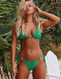 Fashion Green Metal Pendant Chest Pad Split Swimsuit