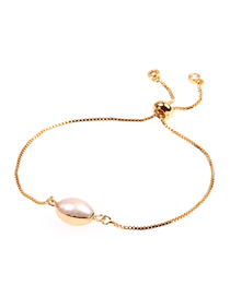 Fashion Oval Pearl Love Stainless Steel Color-protected Pull-out Fine Bracelet