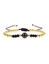 Fashion Gold 4mm Solid Copper Bead Woven Adjustable Freshwater Black Pearl Bracelet