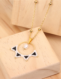 Fashion Gold Rice Beads Woven Pearl Necklace