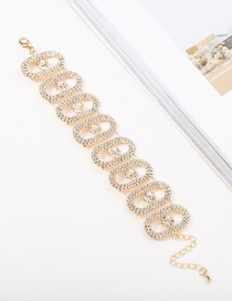 Fashion Gold Openwork Round Diamond Bracelet