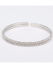 Fashion Silver Silver Plated Steel Diamond Bracelet