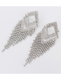 Fashion Silver Diamond-shaped Diamond Tassel Earrings