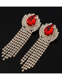 Fashion Red Fully Drilled Tassel Clip