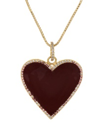 Fashion Wine Red Copper Inlaid Zircon Drop Glaze Love Necklace