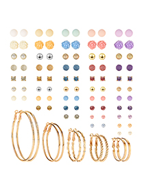 Fashion Color Copper Resin Earrings 50 Pairs