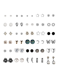 Fashion Silver Sun And Moon Star Alloy Stud Earrings 30 Pairs