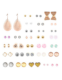 Fashion Gold Love Collar Combined With Gold Earrings 30 Pairs