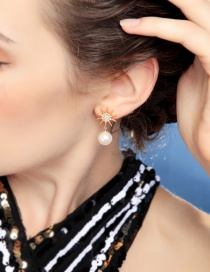 Fashion Gold 925 Sterling Silver Stars With Diamond Stud Earrings