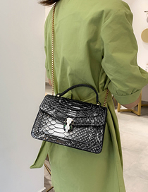 Fashion Cross Section Silver Snakeskin Chain Snake Head Shoulder Crossbody Bag