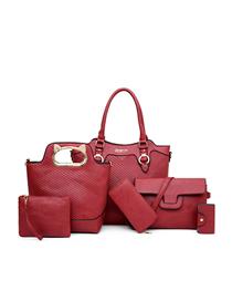 Fashion Red Wine Handbag Shoulder Messenger Bag Six-piece