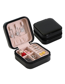 Fashion Black Pu Single Layer Jewelry Box