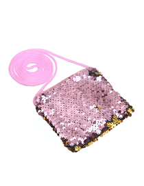 Fashion Powder + Gold Children's Cartoon Sequin Shoulder Messenger Bag