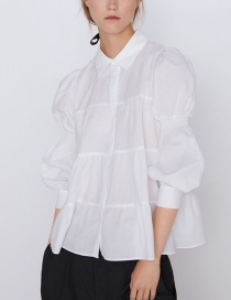 Fashion White Pleated Shirt