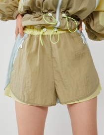 Fashion Khaki Colorblock Nylon Shorts