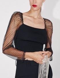 Fashion Black Tulle Stitching Knit Top