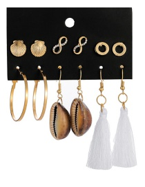 Fashion Gold Shell 8 Word Alloy Tassel Earrings 6 Pairs