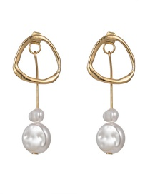 Fashion Gold Simulation Of Natural Irregular Pearl Asymmetric Earrings Female