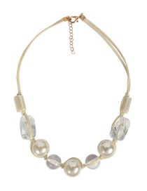 Fashion White Transparent Acrylic Imitation Pearl Knotted Korean Cashmere Necklace