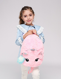 Fashion Light Pink Plush Cartoon Unicorn Shoulder Bag