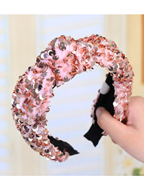 Fashion Pink Knotted Sequined Fish Scale Headband