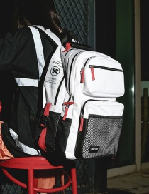 Fashion White Contrast Stitching Mesh Backpack