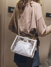 Fashion White Lingge Embroidery Line Transparent Shoulder Messenger Bag Two-piece