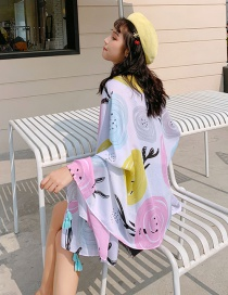 Fashion Color Circle Print Tassel Scarf Shawl