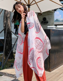 Fashion White Dragon Fruit Print Scarf Shawl