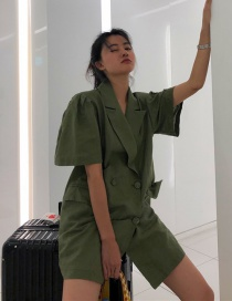 Fashion Armygreen Double-breasted Puff Sleeve Suit Skirt (without Belt)