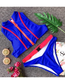 Fashion Blue Zipper Buckle Split Swimsuit