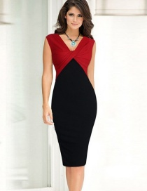 Fashion Red V-neck Colorblock Dress