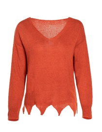 Fashion Orange Deep V Thin Knit Sweater