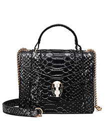 Fashion Contrast Black Snake Head Stitching Contrast Color Python Chain Chain Crossbody Shoulder Bag