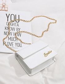 Fashion White One-shoulder Chain Messenger Bag