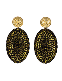 Fashion Black Alloy Rattan Oval Stud Earrings