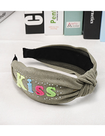 Fashion Armygreen Letter Wide Side Knotted Headband