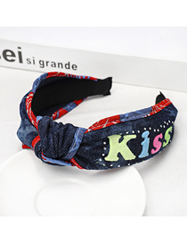 Fashion Tie Dyeing Denim Knot Wide-brimmed Letter Headband