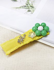 Fashion Yellow Cloth Raw Edge Crystal Flower Letter Hairpin