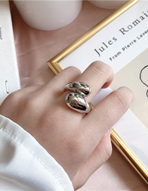 Fashion Silver Open Cross-wound Metal Ring