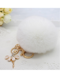 Fashion White Diamond-studded Plush Rabbit Fur Ball Keychain