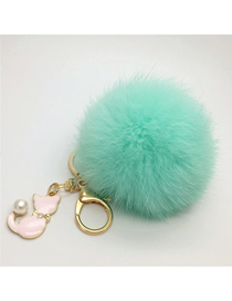 Fashion Green Fur Real Rabbit Hair Ball Pendant Keychain